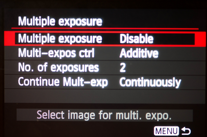 The Multiple Exposure Function Of Canon Cameras Is Pre Set For One Time Use Ie Only Two Photos Taken Immediately After Enabling